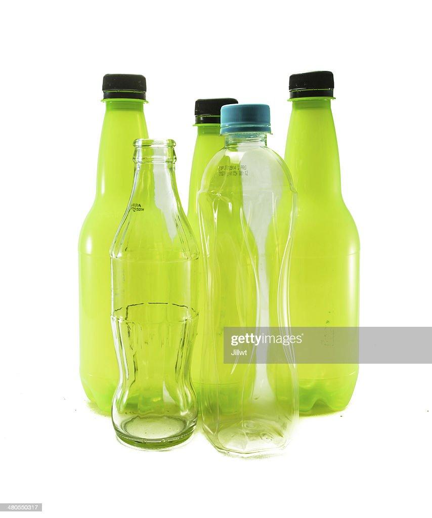 Frasco de vidrio y plástico : Foto de stock