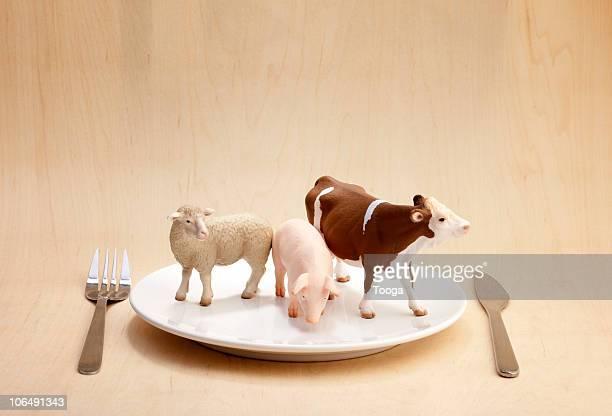 Plastic animals on dinner plate