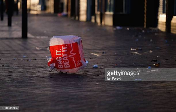 A plastic bag caught by the wind blows through Redcar high street on September 27 2016 in Redcar United Kingdom One year on since the SSI steel...