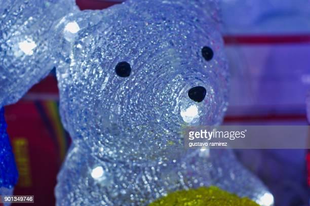 plastic bear lit with white led light