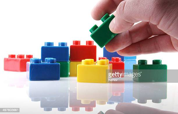 Plastic blocks isolated on white background