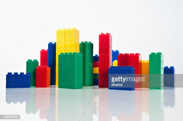 Plastic blocks simulating skyline