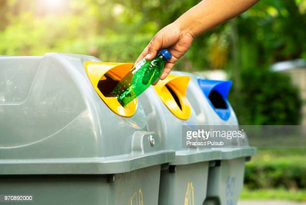 plastic bottle garbage for recycling concept reuse - recycling stock pictures, royalty-free photos & images