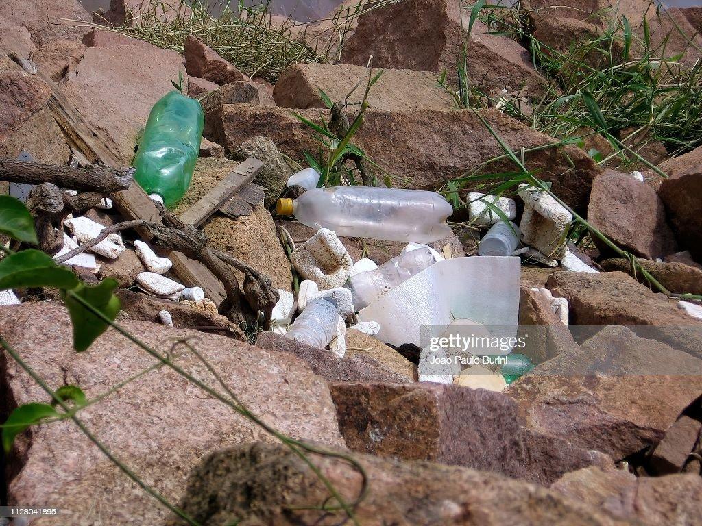 Plastic bottle pollution : Stock Photo