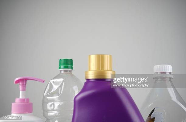 plastic bottle with copy space in white background - 瓶のキャップ ストックフォトと画像