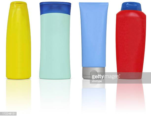 plastic bottles and containers for cosmetics - shampoo stockfoto's en -beelden