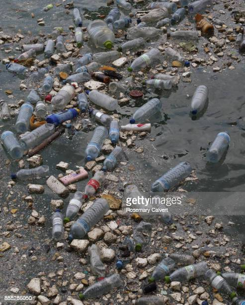 floating plastic bottles polystyrene garbage indian