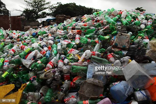 Plastic bottles are piled to be recycled at at the Jardim Gramacho waste disposal site on December 9 2009 in Jardim Gramacho Brazil Referred to as...