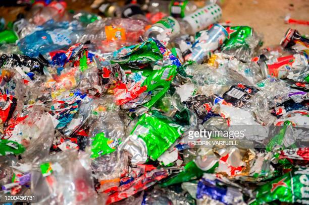 Plastic bottles collected to enter the recycling process are pictured at the company Tomra Collection Solutions in Asker, southeasthern Norway, on...