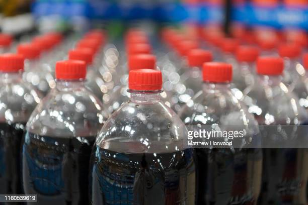 Plastic bottles containing coke on sale in a supermarket store on July 4 2019 in Cardiff United Kingdom