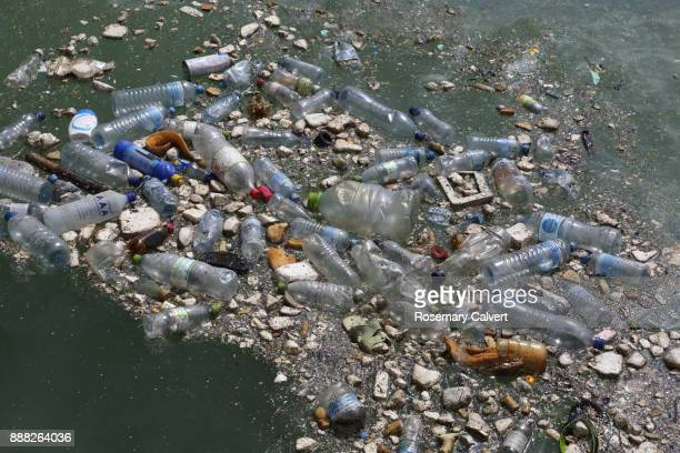 Plastic bottles & garbage floating in Indian Ocean.