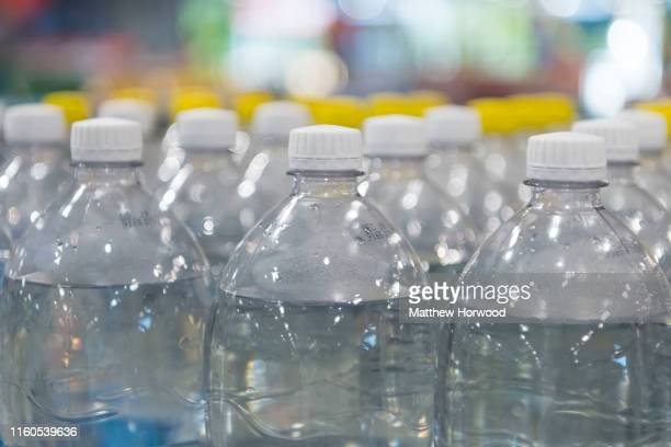 Plastic bottles on sale in a supermarket store on July 4 2019 in Cardiff United Kingdom
