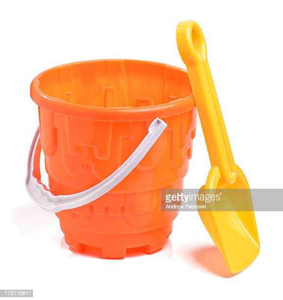 Plastic bucket and spade