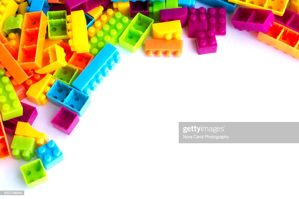 Plastic Building Blocks On A White Background Stock Photo - Getty Images