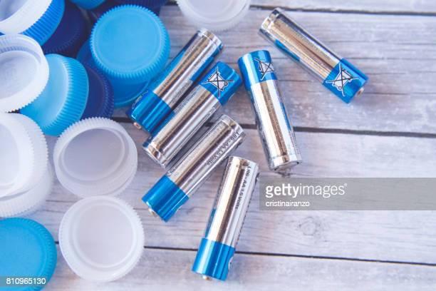 Plastic caps and batteries