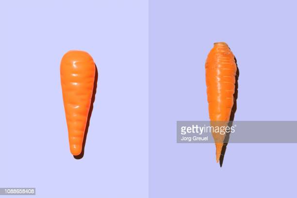 plastic carrot beside real carrot - ニンジン ストックフォトと画像