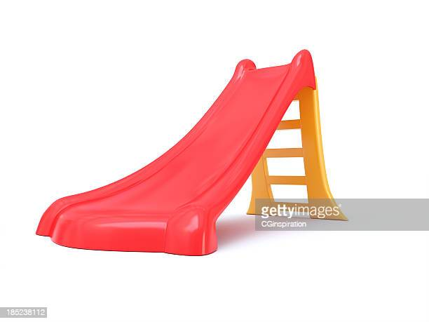 plastic children's slide isolated on a white background - sliding stock pictures, royalty-free photos & images