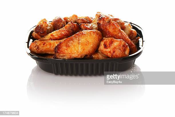 plastic container with take away chicken wings - chicken wing stock pictures, royalty-free photos & images