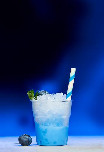 Plastic cup of blueberry slush - gettyimageskorea
