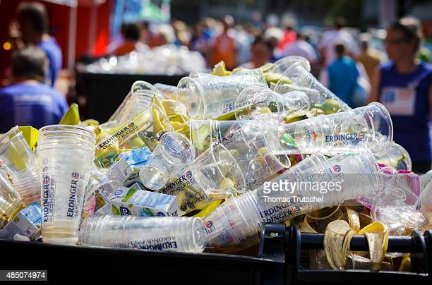 Plastic cups are in a dumpster on August 23 2015 in Berlin Germany