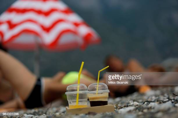Plastic cups used by tourists on the Aegean sea beach near Athens on June 26 Greece The Mediterranean is one of the seas with the highest levels of...