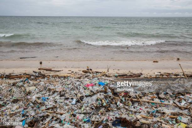 Plastic debris and other trash is washed up on Kedonganan beach in Bali, Indonesia, on Friday, Jan. 22, 2021. Movement restrictions inBaliwere...