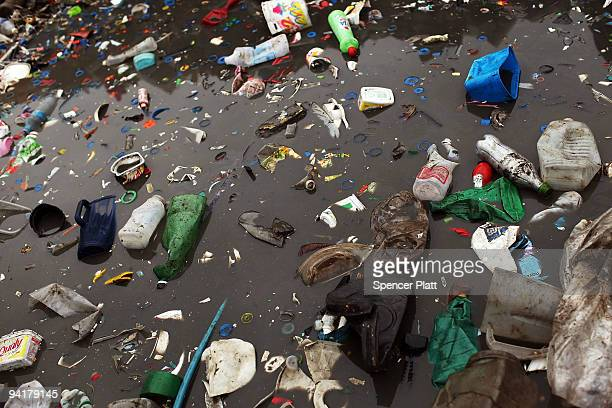 Plastic debris litter the ground at the Jardim Gramacho waste disposal site on December 9 2009 in Jardim Gramacho Brazil Referred to as the largest...