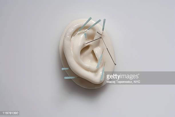 Plastic ear with acupuncture needles