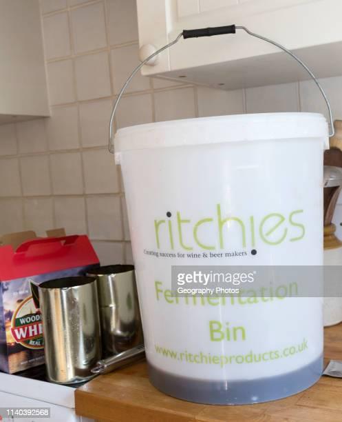 Plastic fermentation bin for home brew beer Woodforde's Wherry real ale kit England UK