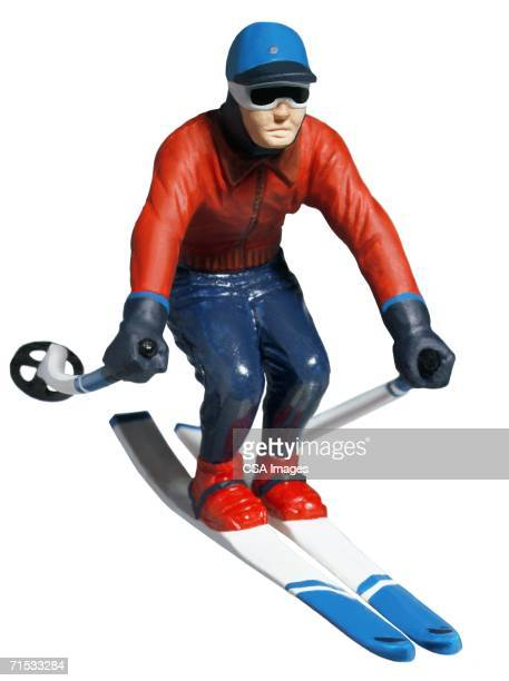 plastic figurine of a skier - human representation stock pictures, royalty-free photos & images