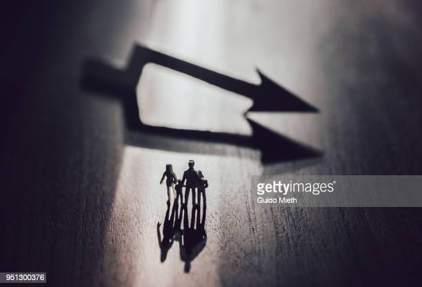 Plastic figurines and a arrow