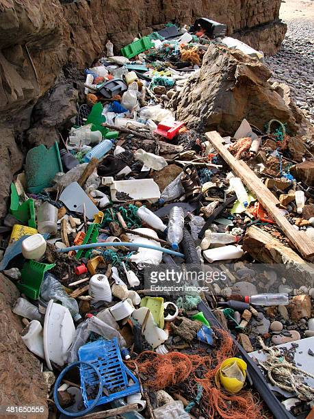 Plastic flotsam and jetsam washed up on a Cornish beach Bude Cornwall UK