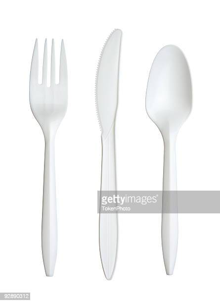 plastic fork, knife, and spoon - silverware stock pictures, royalty-free photos & images