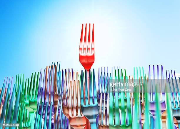 Plastic forks forming a crowd scene