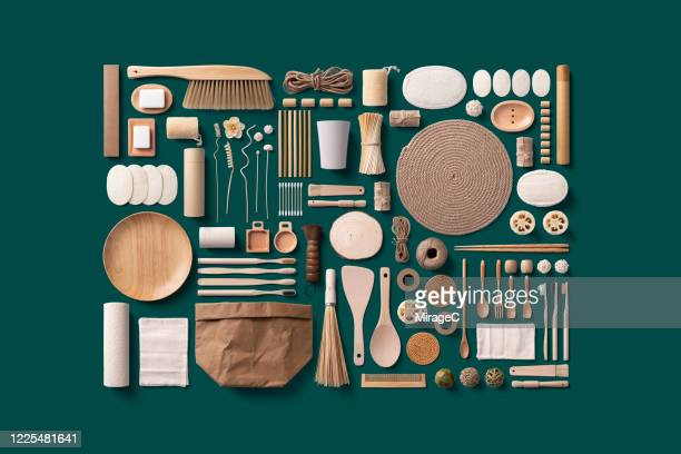 plastic free and zero waste home accessories collection - knolling concept stock pictures, royalty-free photos & images