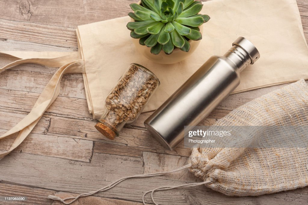 Plastic free grocery shopping : Stock Photo
