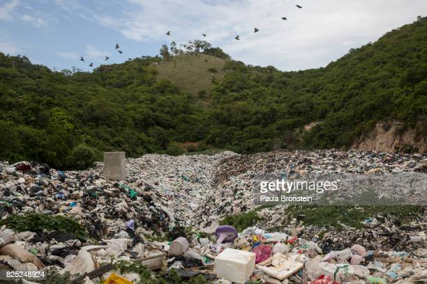 Plastic garbage is piled up at a landfill on the island of Koh Larn on July 30 2017 in PattayaThailand Koh Larn which lies just off the coast of...