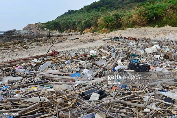 Plastic garbage on the beach near china