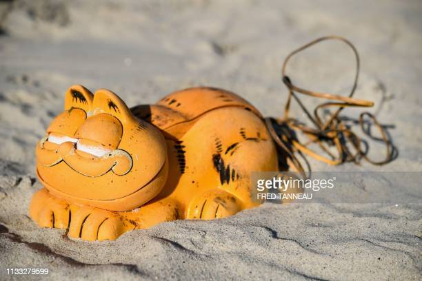 A plastic 'Garfield' phone is displayed on the beach on March 28 2019 in Plouarzel western France after being collected from a sea cave by...