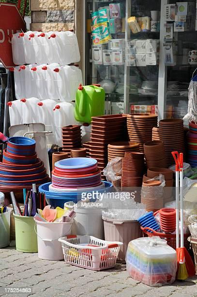 Plastic goods on sale outside a homewares shop in Turgutreis south west Turkey Asia Minor