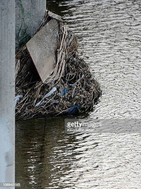 Plastic grocery bags and garbage from recent rain storms litter the Los Angeles River on November 17, 2010 in Los Angeles, California. Los Angeles...