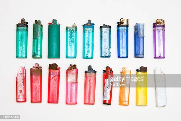 18 plastic lighters - marine plastic - cigarette lighter stock pictures, royalty-free photos & images