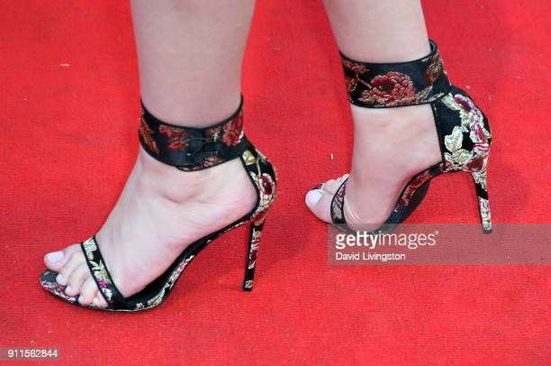 Plastic Martyr shoe detail attends a GRAMMY viewing party and reception hosted by Celebrity Page KCALTV and KCBSTV at La Piazza on January 28 2018 in...