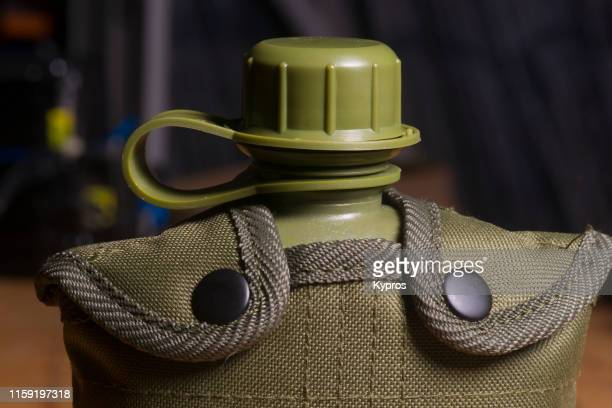 plastic military style water bottle - military style stock pictures, royalty-free photos & images