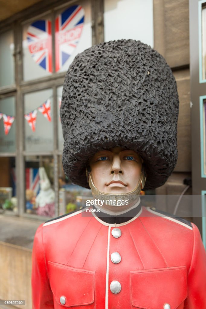 plastic model of a Beefeater soldier at a tourist information centre in Cambridge England : Stock Photo