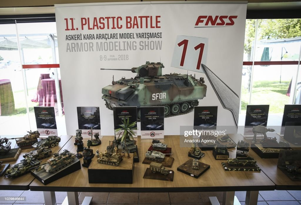 Plastic models of military tanks displayed at FNSS Military