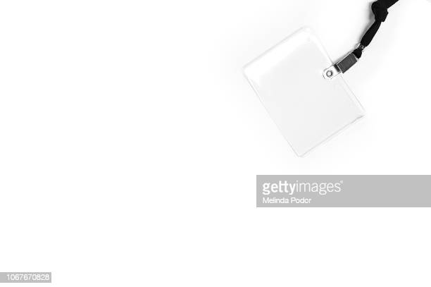 plastic nametag holder on pure white background - identity card stock pictures, royalty-free photos & images