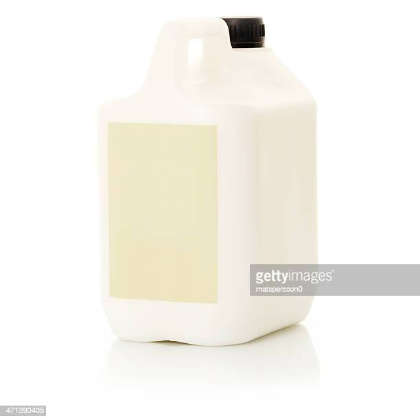 Plastic one gallon container with empty label