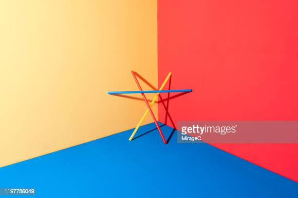 plastic pipe triangle structure - colour block stock pictures, royalty-free photos & images