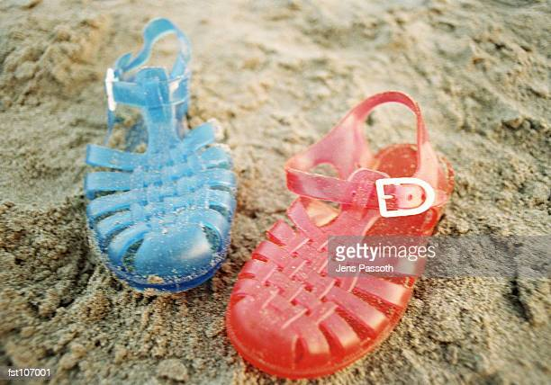 Plastic sandals on the beach